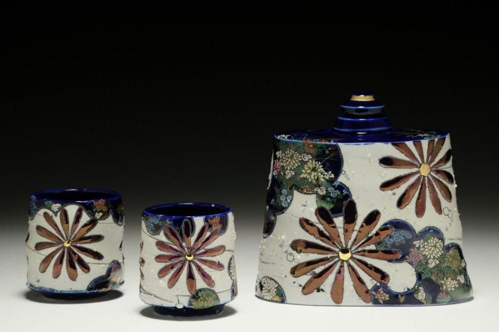 Imari Flask with Cups