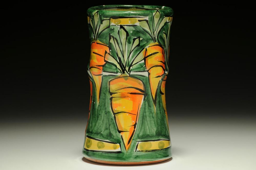 Green Vase with Carrots