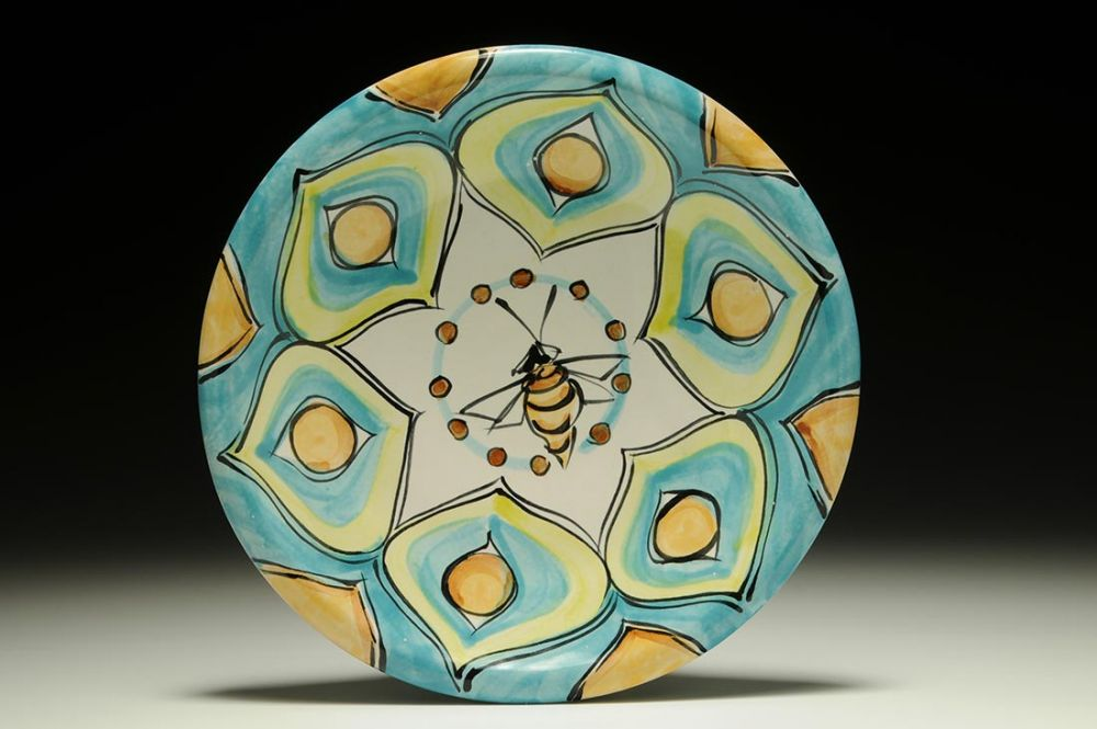 Turquoise Plate with Bee and Yellow Flowers