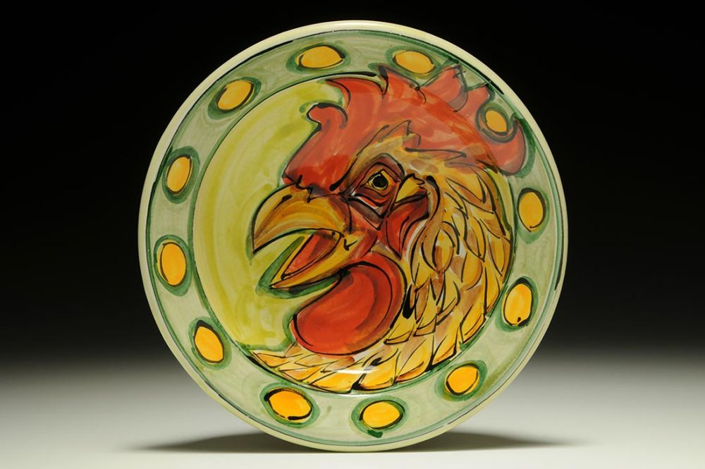 Flat Lipped Bowl with Chicken (Green)