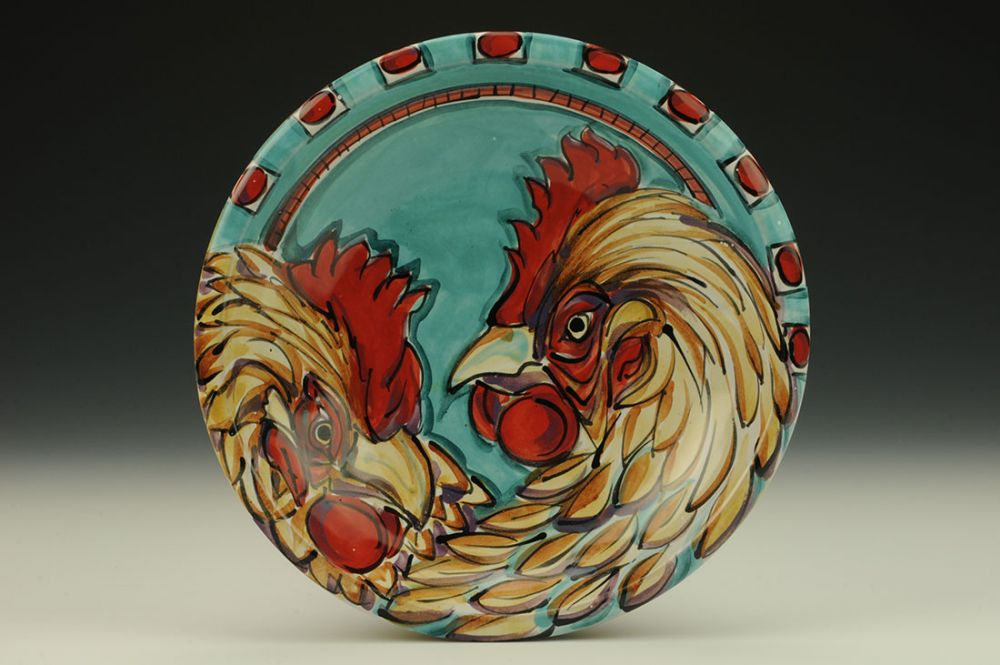 Plate with Chickens and Feathers