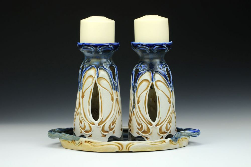 Nouveau Candle Holder Pair with Tray
