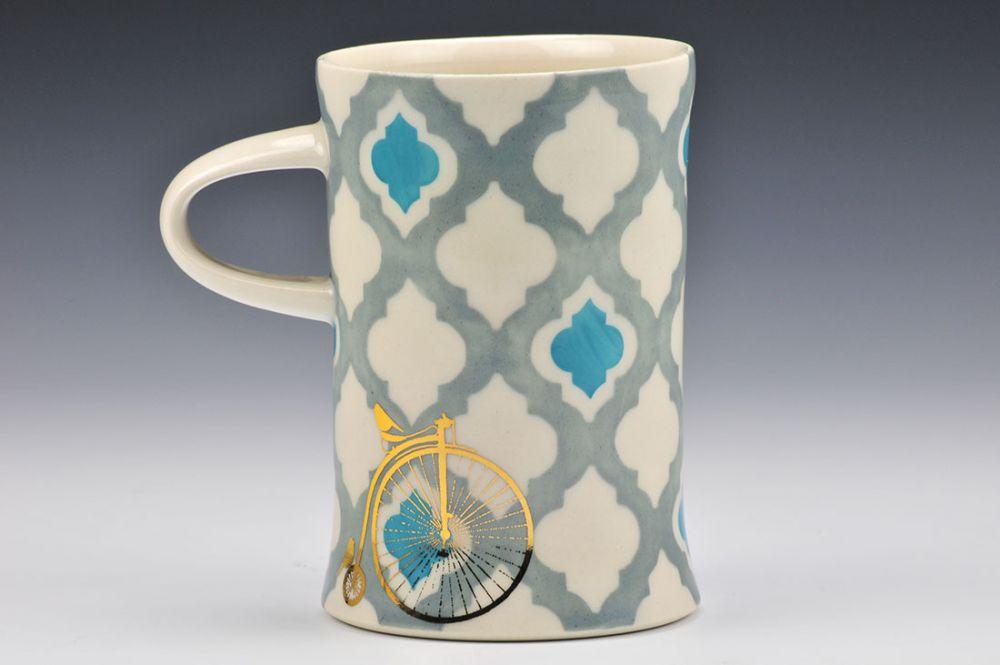 Moroccan Tile Mug with Penny Farthing