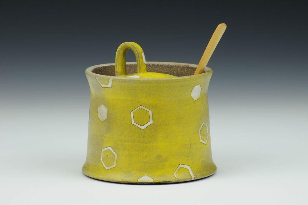 Yellow Sugar Pot with Hexagonal Motif