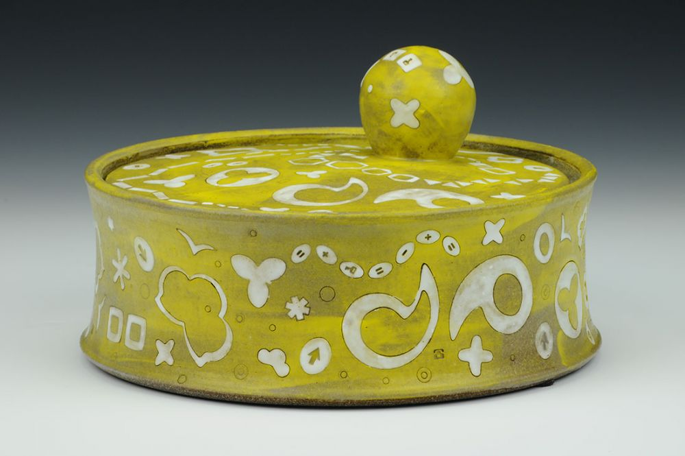 Yellow Jar with Ball Handle