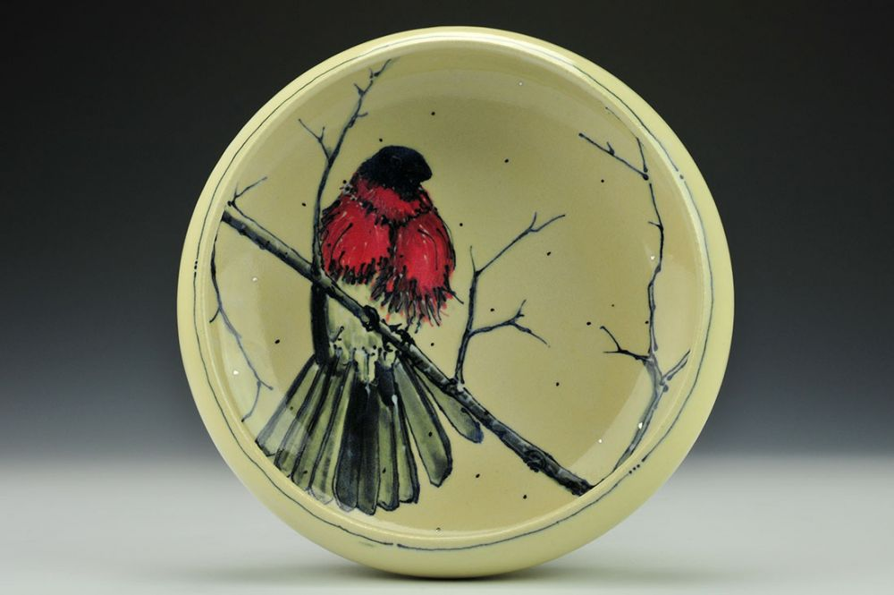 Red Breasted in the Snow Low Bowl