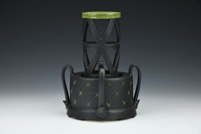 Vase with Triangle Cutouts and Insert