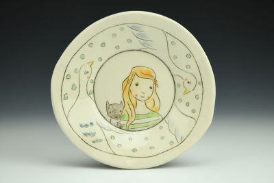 Small Dish with Girl and Animals