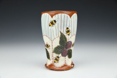 Blackberry and Bee Stitched Tumbler