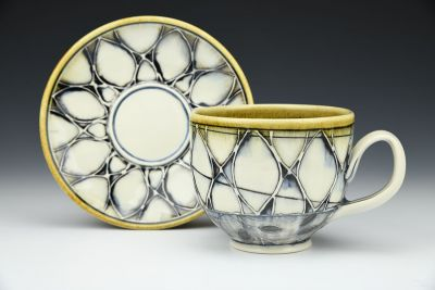 Pattern and Black Ash Latte Cup and Saucer Set