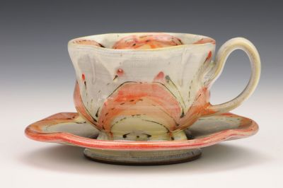 Red Flower Teacup and Saucer