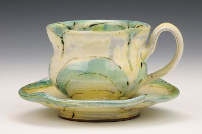 Green Flower Teacup and Saucer