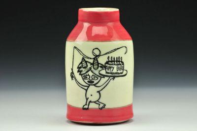 Happy Birthday Red Bud Vase