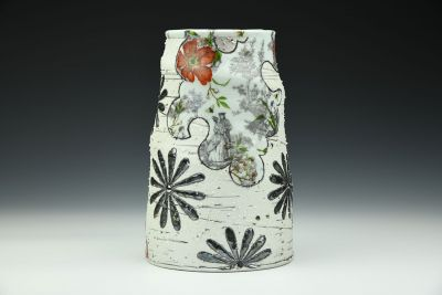 Toile and Black Flower Vase