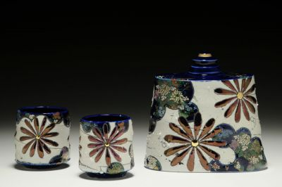 Imari Flask with Cups