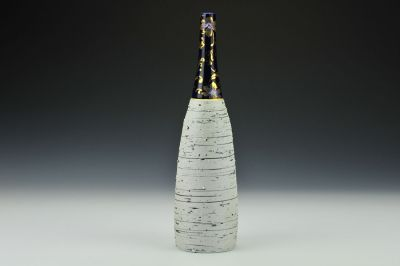 Cobalt Feldspar Bottle with Gold Decals