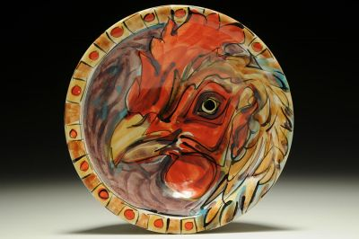 Flat Lipped Bowl with Chicken (Purple)