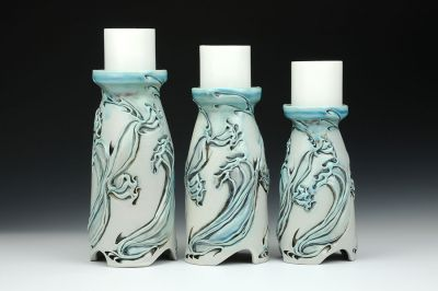 Dragon Flower Candle Holder Trio