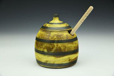 Yellow and Black Stripey Honey Jar