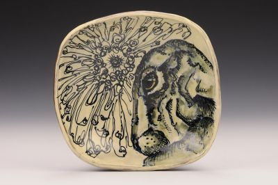 Hare and Floral Square Bowl