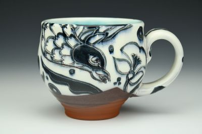 Black, White, and Turquoise Cuban Pattern Mug