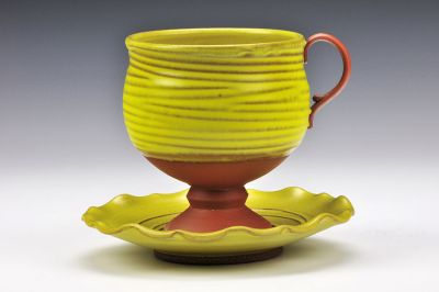 Yellow Cup and Saucer Set