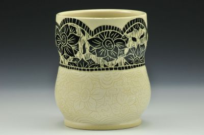 Black and White Floral Cup