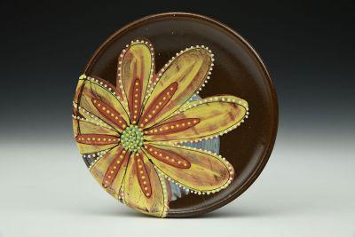 Yellow Flower Power Dessert Plate
