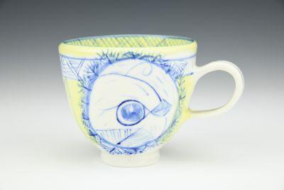 Yellow and Cobalt Tea Cup