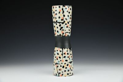 Abstract Dot Hourglass Vase