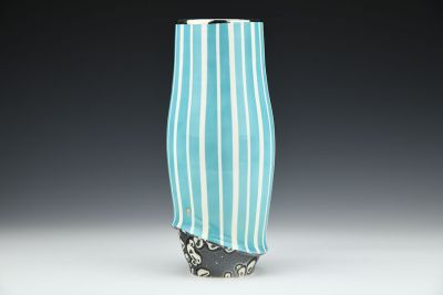 Blue Vase with Silver