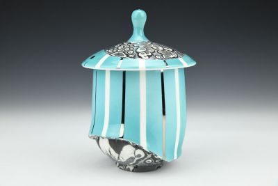 Blue and White Striped Jar
