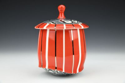 Red and White Striped Jar