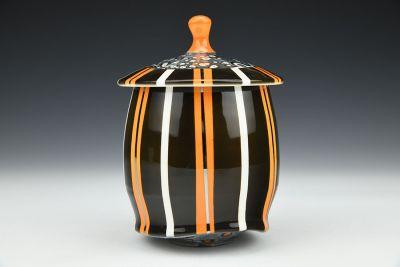Black and Orange Striped Jar