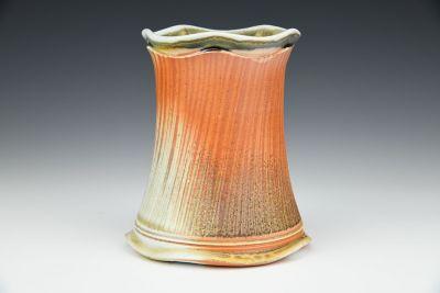 Scalloped Orange Vase