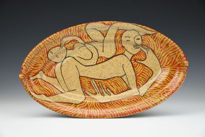Two People Oval Platter