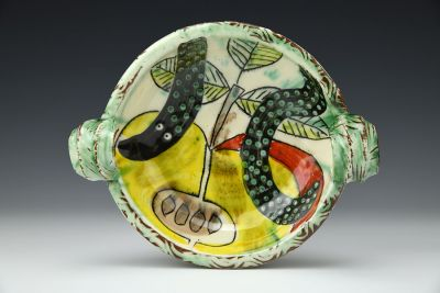 Snake Apple Plate with Handles