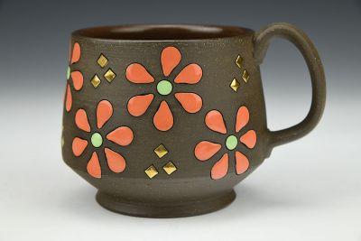 Coral Daisies Mug
