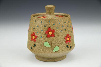 Red Flowers Small Lidded Jar