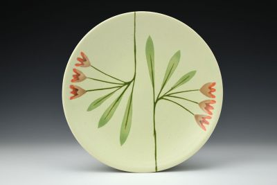 High Green Plate with Orange Flowers