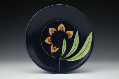 Dark Blue Plate with Three Leaves