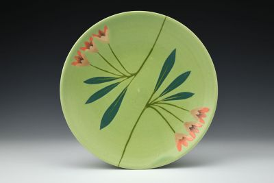 Green Plate with Orange Flowers