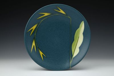 Turquoise Plate with Pointy Yellow Flowers