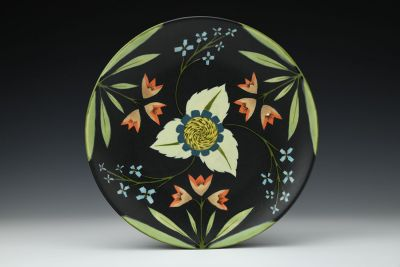 Dinner Plate with Little Blue Flowers