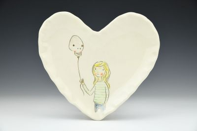 Skull Balloon Heart Shaped Dish