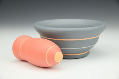 Slate Gray and Red Mortar and Pestle