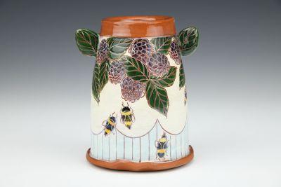 Blackberries and Bees Mini Vase