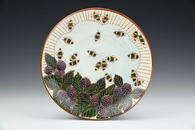 Blackberries and Bees Dessert Plate