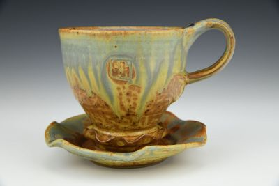 Yellow Ash Flutter Cup with Saucer