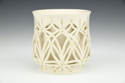 White Double-Walled Cup with Gold